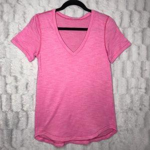 Lululemon Pink V Neck Short Sleeve Tee Shirt